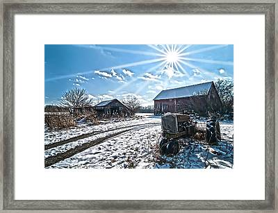 Tractor Farm Winter Blues Framed Print by Randall Branham