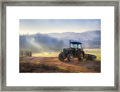 Tractor In The Fog Framed Print