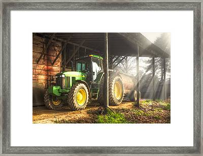 Tractor In The Morning Framed Print