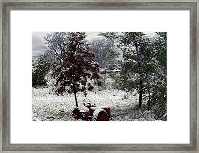 Tractor In The Snow Framed Print