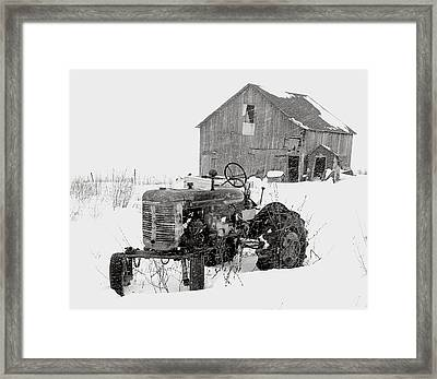 Framed Print featuring the photograph Tractor In Winter by Jim Vance