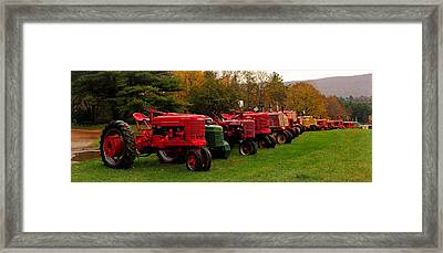 Tractor Lineup Framed Print by Don Dennis