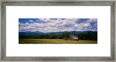 Tractor On A Field, Waterbury, Vermont Framed Print by Panoramic Images