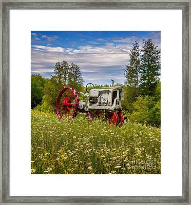 Tractor Out To Pasture Framed Print by Henry Kowalski