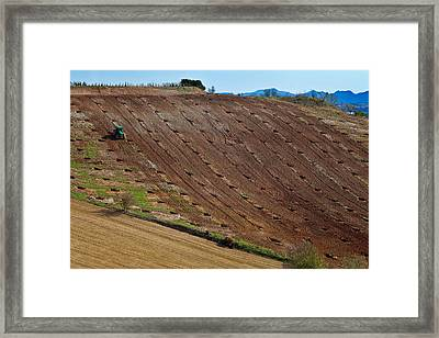 Tractor Preparing A Field, Near Alhama Framed Print by Panoramic Images