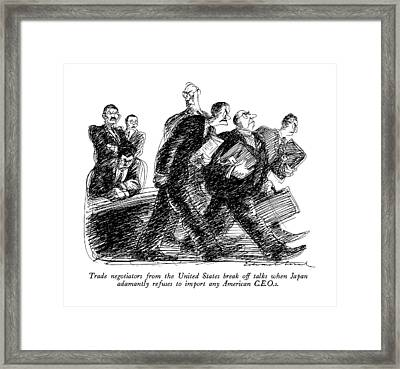 Trade Negotiators From The United States Break Framed Print by Edward Sore