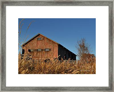 Traders Point Barn Framed Print by Amy Lucid