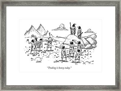 Trading Is Heavy Today Framed Print by Tom Cheney