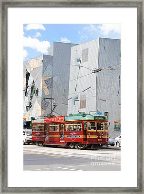 Traditional And Modern Symbols Of Melbourne - Tram And Architecture Framed Print