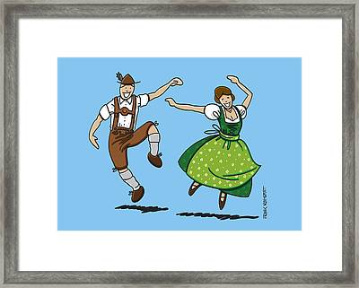Traditional Bavarian Couple Dancing Framed Print by Frank Ramspott