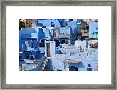 Traditional Blue Painted House Framed Print by Keren Su