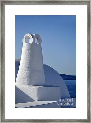 Traditional Chimney In Oia Town Framed Print by George Atsametakis