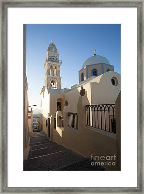 Traditional Church And Street In Santorini - Greece Framed Print