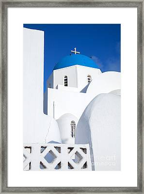 Traditional Church In Santorini - Greece Framed Print by Matteo Colombo