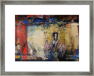 Traditional Dance In Front Of A Yellow Curtain Framed Print