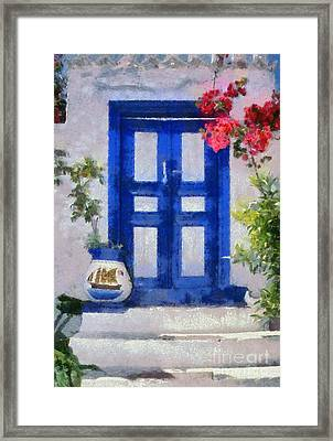 Traditional Door In Hydra Island Framed Print