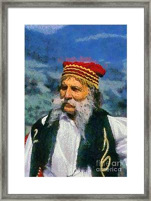 Man Dressed In Traditional Clothes In Delphi Framed Print