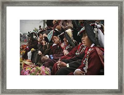 Traditional Dresses At Diskyid Festival Framed Print by Timothy Allen