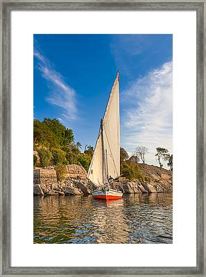 Traditional Egyptian Sailboat On The Nile Framed Print by Mark E Tisdale