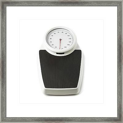 Traditional Floor Weighing Scales Framed Print by Science Photo Library