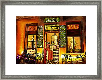 Framed Print featuring the painting Traditional Greek Shop At Skopelos by Persephone Artworks