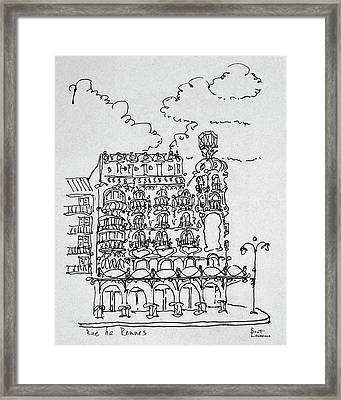 Traditional Haussmann Building On Rue Framed Print