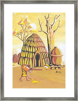 Framed Print featuring the painting Traditional House Massa Northern Cameroon by Emmanuel Baliyanga