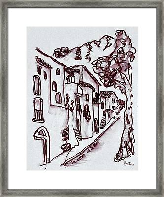 Traditional Houses Line The Street Framed Print