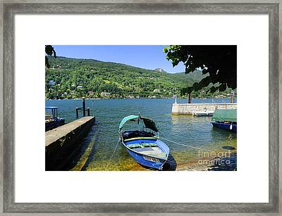Traditional Lucia Fishing Boat On Lake Maggiore Framed Print by Brenda Kean