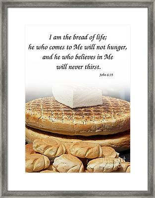 Traditional Old-fashioned Bread And Bible Verse Framed Print by Yali Shi