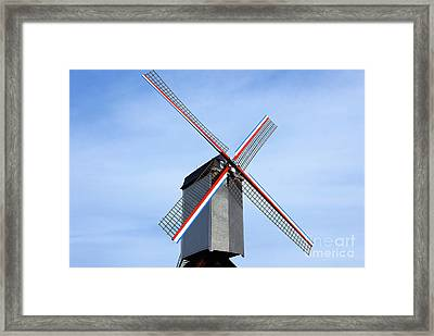 Traditional Old Windmill In Belgium Framed Print