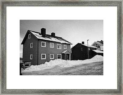 traditional red painted wooden house Honningsvag finnmark norway europe Framed Print by Joe Fox