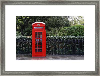 Traditional Red Telephone Box In London Framed Print