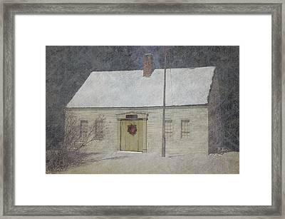 Traditional Snow Colonial Salt Box Home Christmas Card Framed Print by Suzanne Powers
