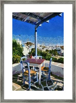 Traditional Tavern In Ios Town Framed Print