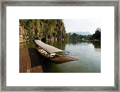 Traditional Thai Long Boat Docked Framed Print