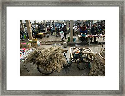Traditional Town Market With Grass Framed Print by Panoramic Images