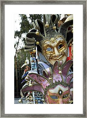 Traditional Venetian Masks Displayed At Shop Framed Print by Sami Sarkis