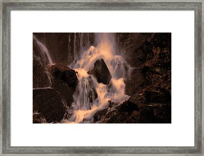 Traditional Waterfall At Sunset Framed Print by Lawrence Christopher
