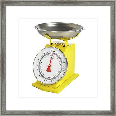 Traditional Weighing Scales Framed Print by Science Photo Library