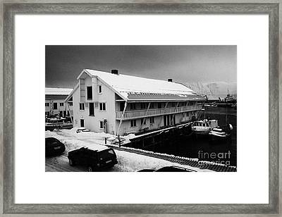 traditional wooden warehouse in Honningsvag harbour finnmark norway europe Framed Print by Joe Fox