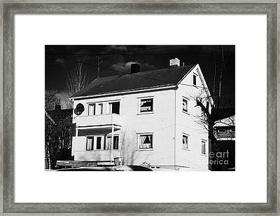 Traditional Yellow Painted Wooden House In Kirkenes Finnmark Norway Europe Framed Print