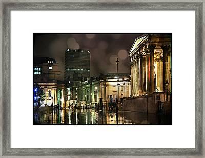 Trafalgar Square Rain Framed Print by Heidi Hermes