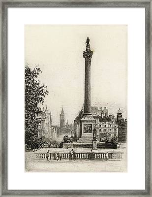 Trafalgar Square, With Big Ben Framed Print by Mary Evans Picture Library