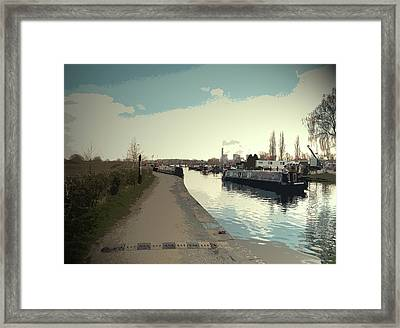 Traffic At Sawley Marina, A Narrow Boat Cruising Framed Print