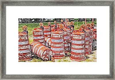 Traffic Barrels Framed Print by Allan  Hughes