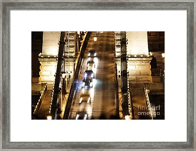 Traffic- Chain Bridge Budapest At Night Framed Print by Mahsa Watercolor Artist