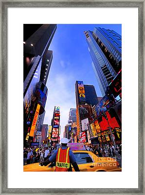 Traffic Cop In Times Square New York City Framed Print