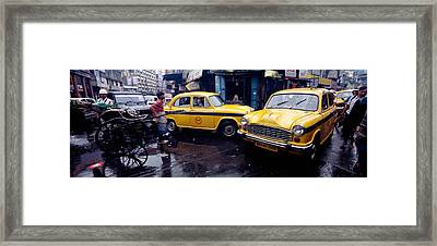 Traffic In A Street, Calcutta, West Framed Print by Panoramic Images