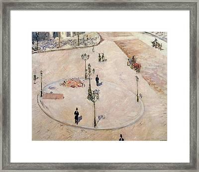 Traffic Island On Boulevard Haussmann Framed Print by Gustave Caillebotte